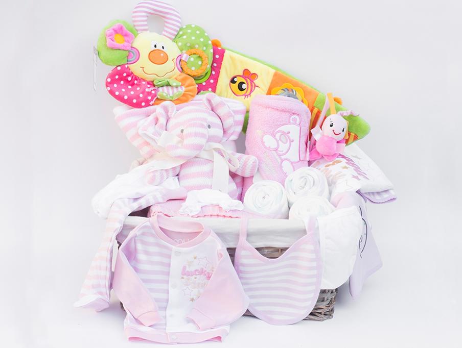 Poklon korpa za Bebe Lux roze