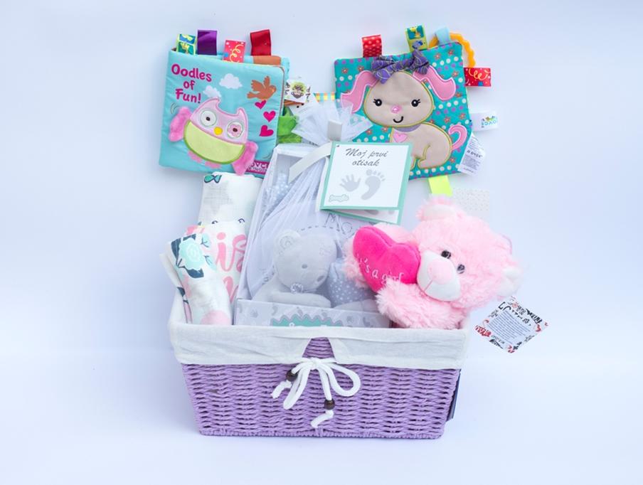 Poklon korpa za Bebe - Roze meda